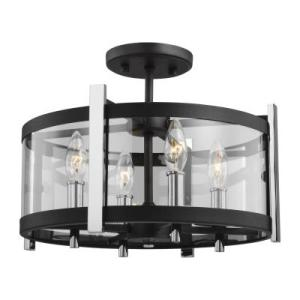 Murray Feiss SF347TXB CH from Broderick Textured Black 773829 Murray Feiss   SF347TXB CH   Broderick   Four Light Semi Flush Mount