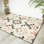 Modern Aztec Tribal Blush Pink Rugs Grey Charcoal Designer Cheap Living Area Rug Ebay