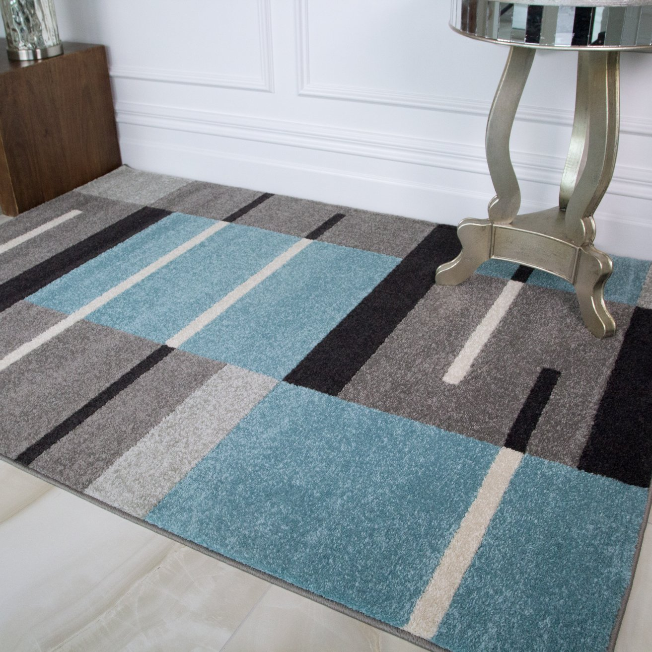 Details About Powder Blue Gray Patchwork Rugs Cheap Geometric Living Room Floor Area Rug