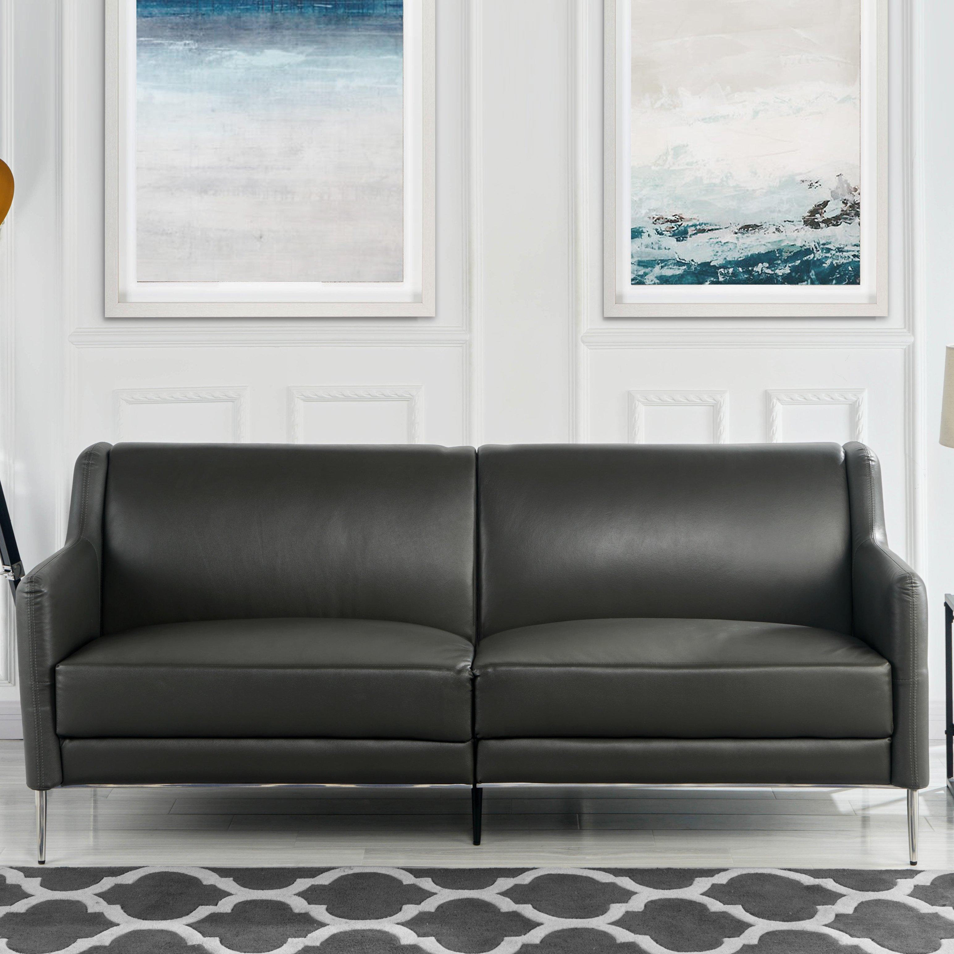 Sofa De Coincidencia De Cuero De Mediados De Siglo 77 1 Elegante Simple Sofa Del Salon En Gris Ebay