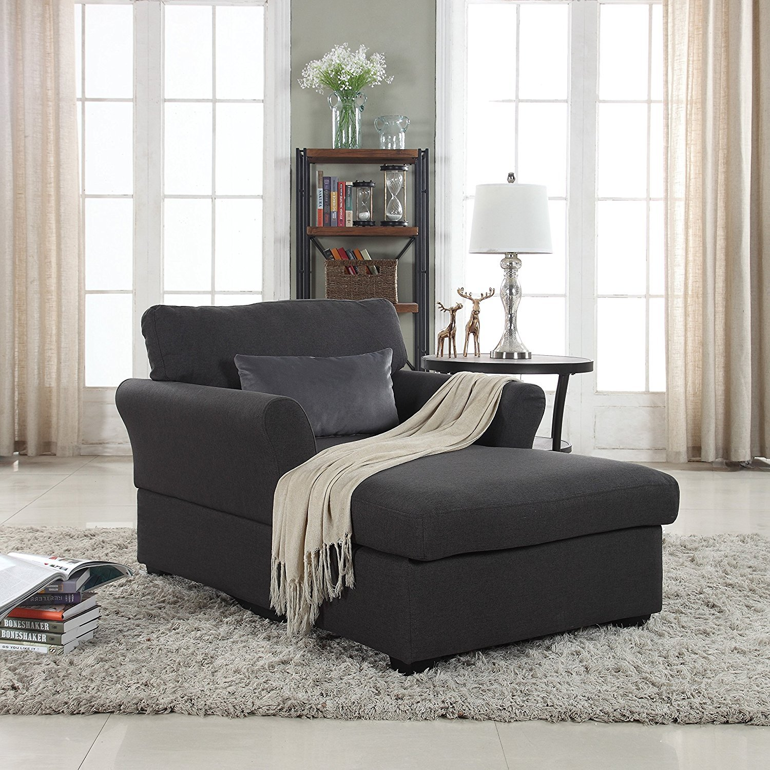 Details About Large Linen Fabric Living Room Bedroom Chaise Lounge Lounger Dark Grey