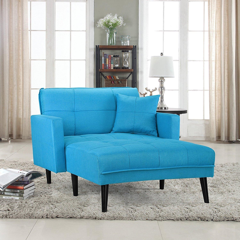 Details About Modern Linen Fabric Recliner Sleeper Chaise Lounge Futon Sleeper Single