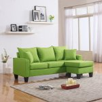 Details About Modern Linen Fabric Small Space Sectional Sofa With Reversible Chaise Green