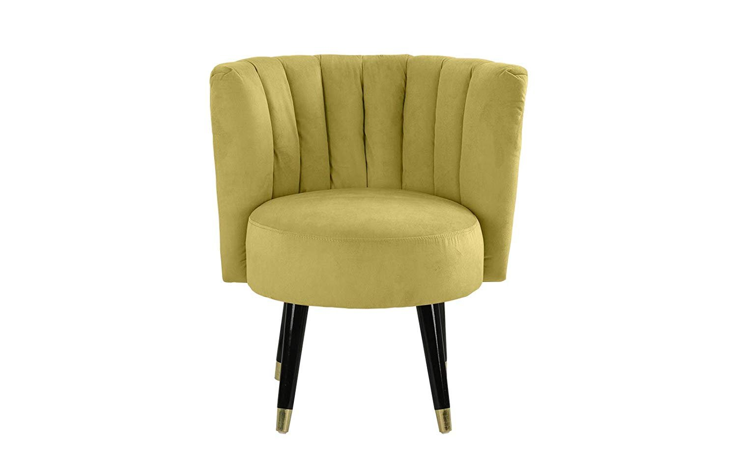 Details About Classic Velvet Living Room Chair Round Accent Chair Pleated Backrest Green