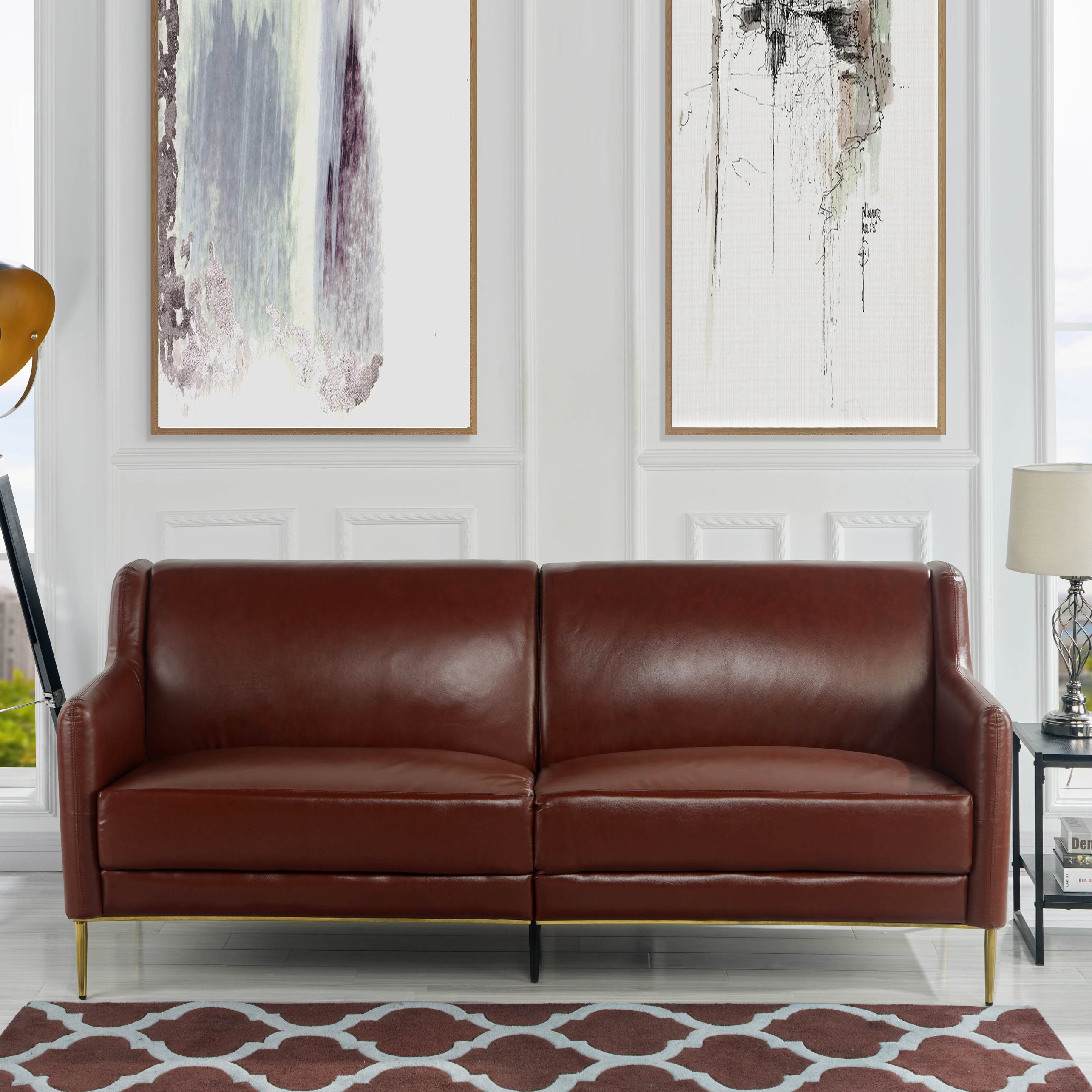 Details About Classic Mid Century Couch Leather Match Sofa W Gold Finish Legs Brown