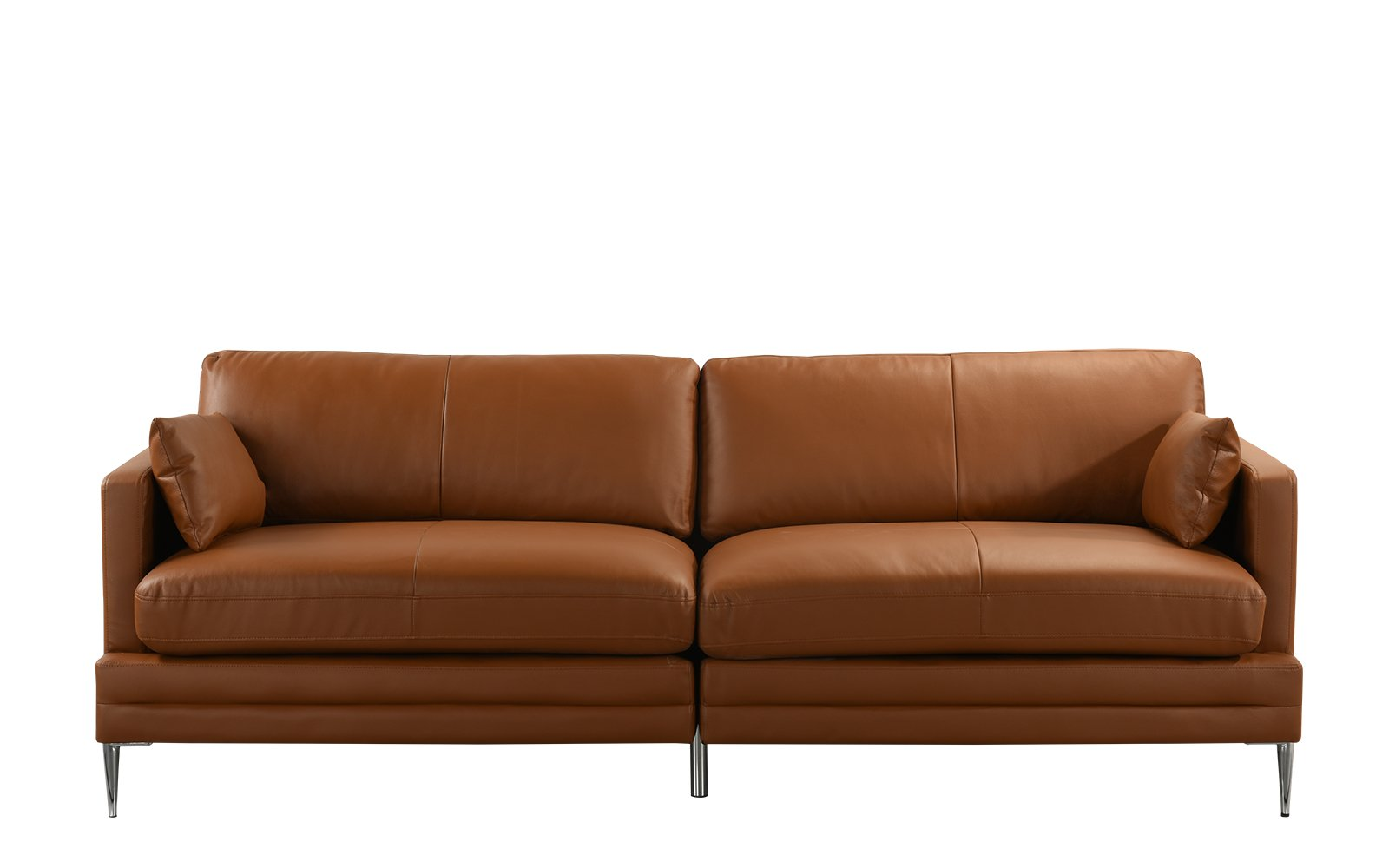 Details About Light Brown Mid Century Modern Sofa Leather Match Fabric Living Room Couch
