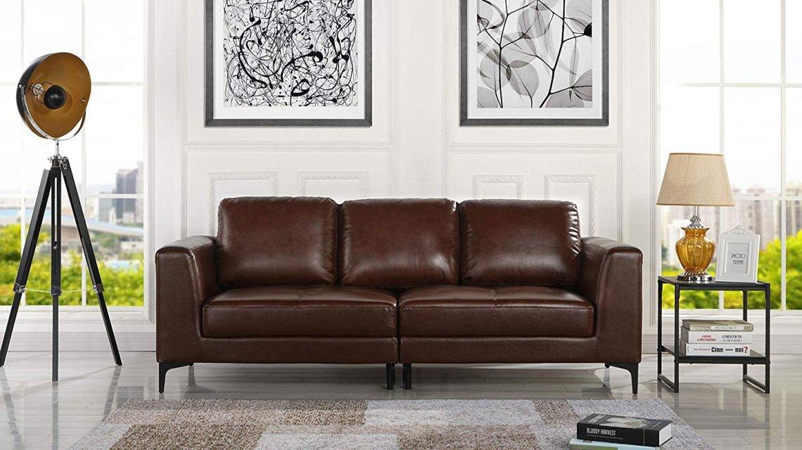 Dark Brown Upholstered Leather Match Sofa, Modern Living ...
