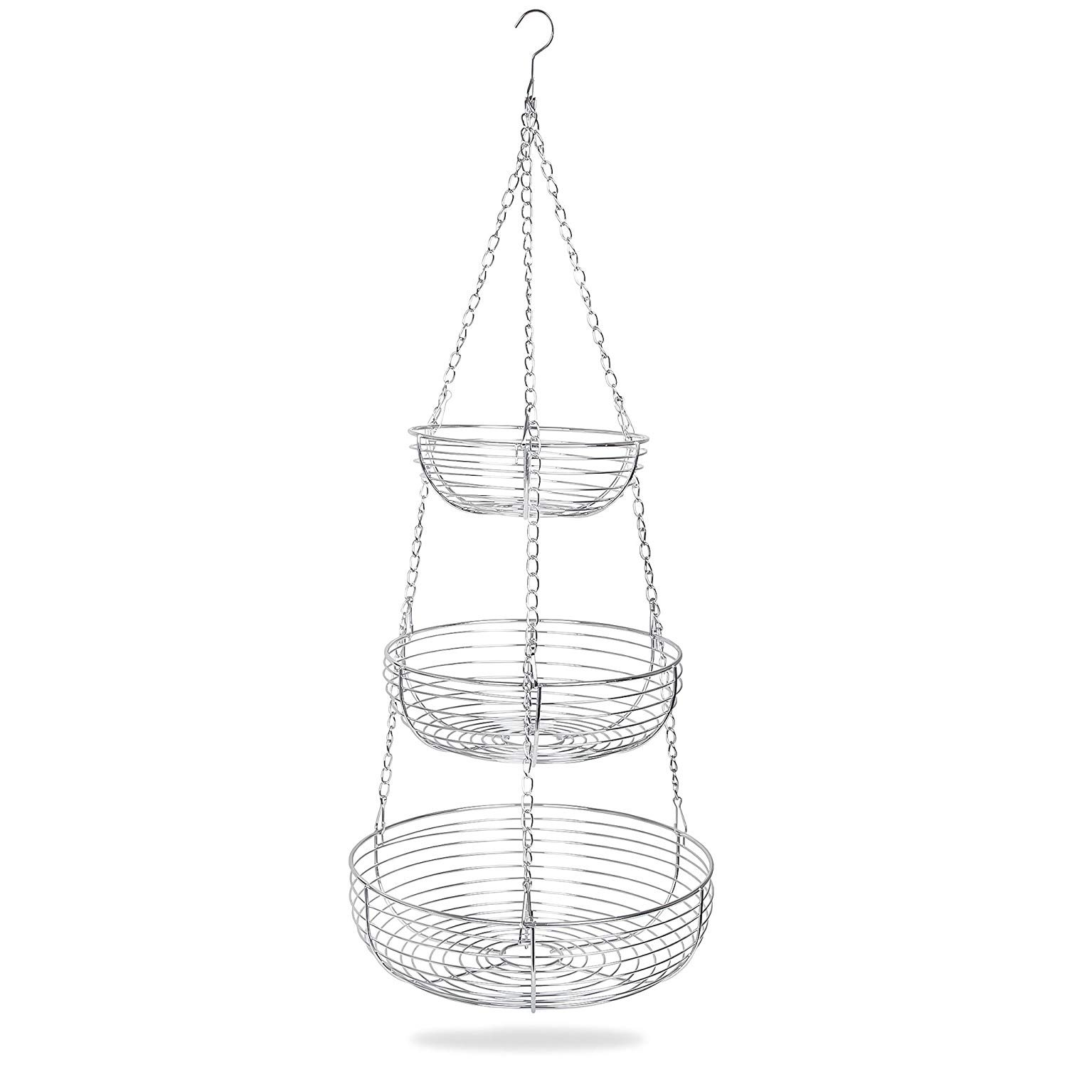 Home Intuition 3 Tier Hanging Basket Heavy Duty Wire