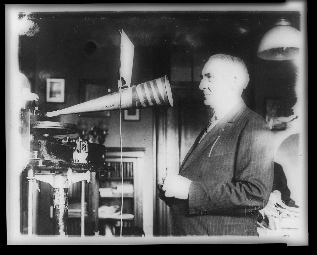 In 1922, President Warren G. Harding made a sound recording of his voice, for archival purposes. He died in 1923, succeeded by Calvin Coolidge. National Archives image.