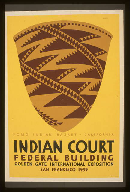 Indian court, Federal Building, Golden Gate International Exposition, San Francisco, 1939 Pomo Indian basket, California /