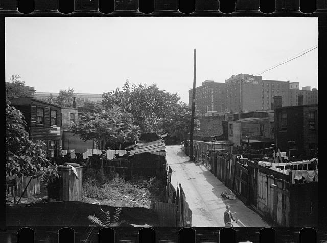 [Untitled photo, possibly related to: Children in slum area, Washington, D.C. Children in their backyard in a slum area near the Capitol. This area inhabited by both black and white]