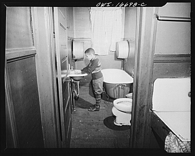 Detroit, Michigan. Bathroom of a Negro family. These are conditions under which families originally lived before moving to the Sojourner Truth housing project