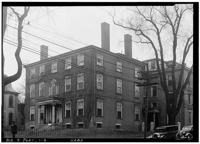 The Mussey Mansion at the corner of High & Danforth Streets. Our subject home is visible at left. Image from Historic American Buildings Survey of 1936