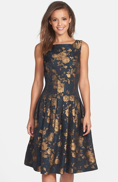 Black And Gold Floral Fit And Flare Dress