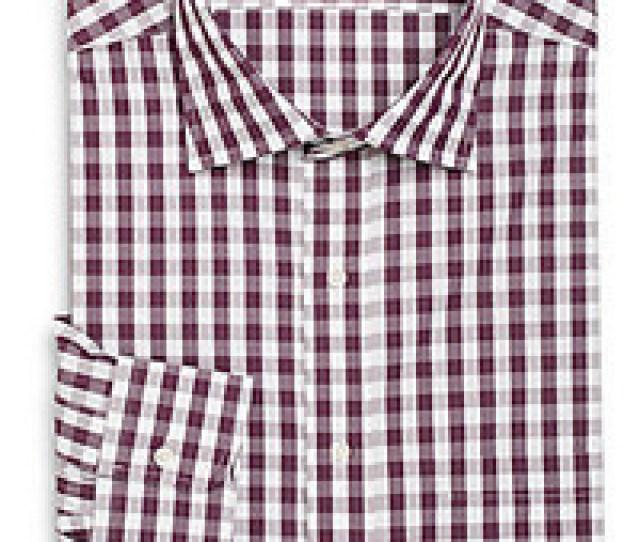 Saks Fifth Avenue Black Modern Classic Fit Gingham Dress Shirt