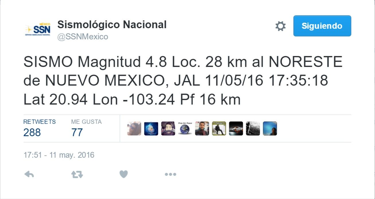 SIsmológico Nacional Tuit Jalisco