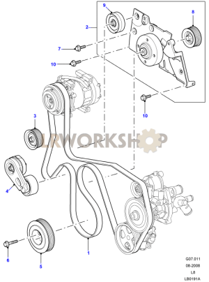 Drive Belts & Pulleys with Air Con  24 Tdci  Find Land Rover parts at LR Workshop