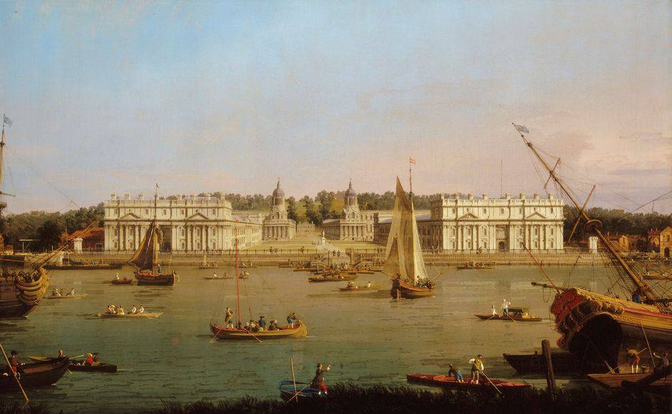 Greenwich Hospital from the north bank of the Thames, Canaletto, 1750-52; National Maritime Museum, London