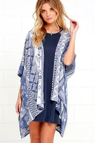 Peony Petals Ivory and Blue Print Kimono Top