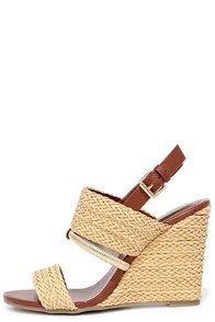 Mia Adria Natural Woven Wedge Sandals