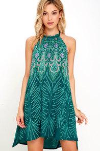 O'Neill Tamera Dark Green Print Dress