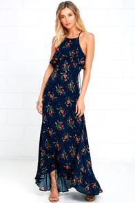 Pretty Floral Print Dress High Low Dress Maxi Dress