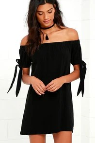Al Fresco Evenings Black Off-the-Shoulder Dress