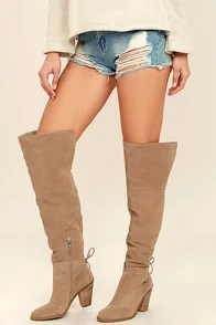 Jessica Simpson Cassina Taupe Suede Leather Over the Knee Boots