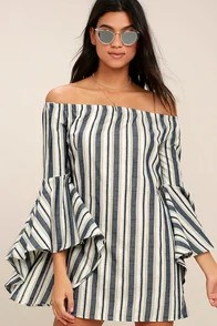 Along the Tides Navy Blue Striped Off-the-Shoulder Dress