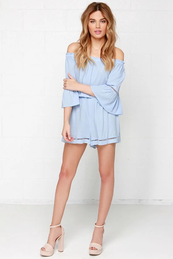 Cute Light Blue Romper Off The Shoulder Romper