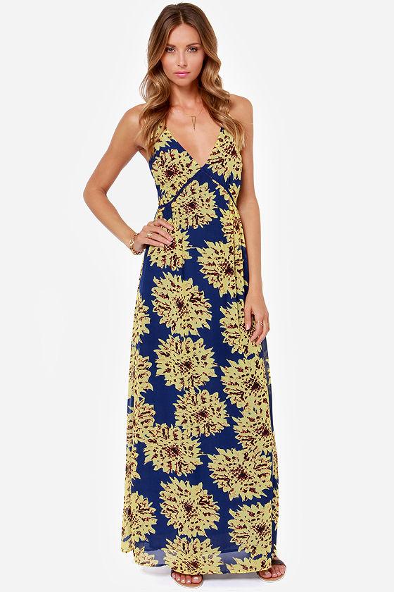Cute Floral Print Dress Maxi Dress Blue Dress Yellow