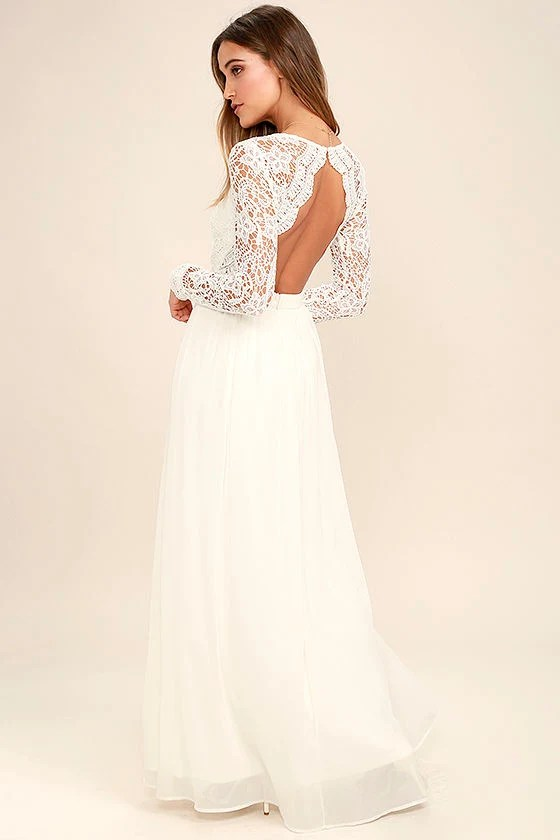 Awaken My Love White Long Sleeve Lace Maxi Dress