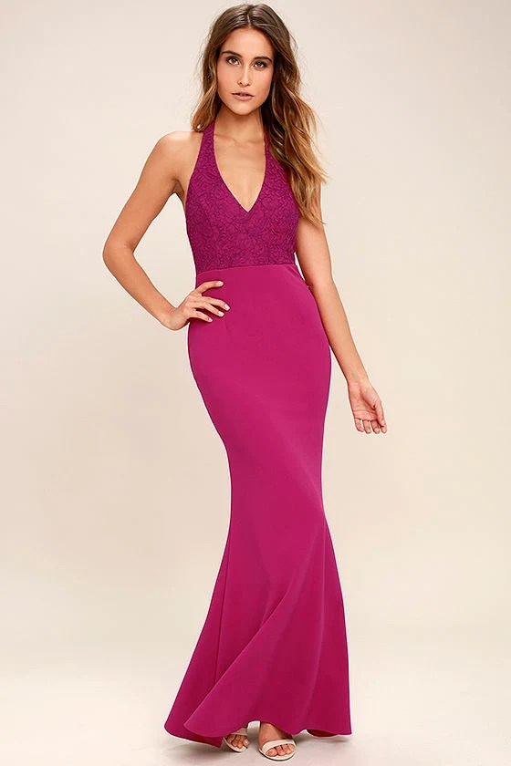 Fuchsia Dress Halter Dress Maxi Dress Lace Dress