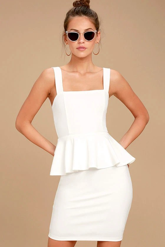 One More Kiss White Peplum Dress