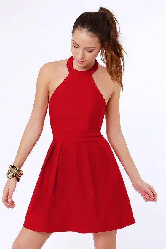 Cute Red Dress Halter Dress Skater Dress 3750