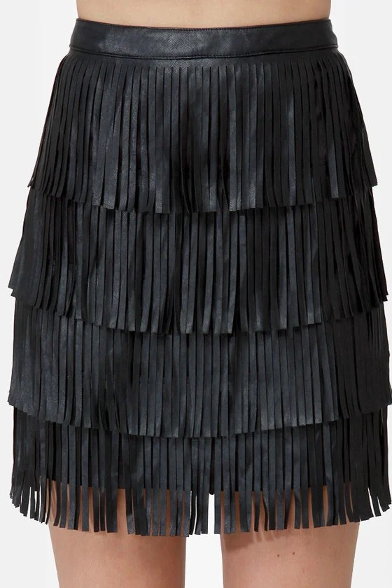 Nuthin' But a Fringy Thang Black Fringe Skirt at Lulus.com!