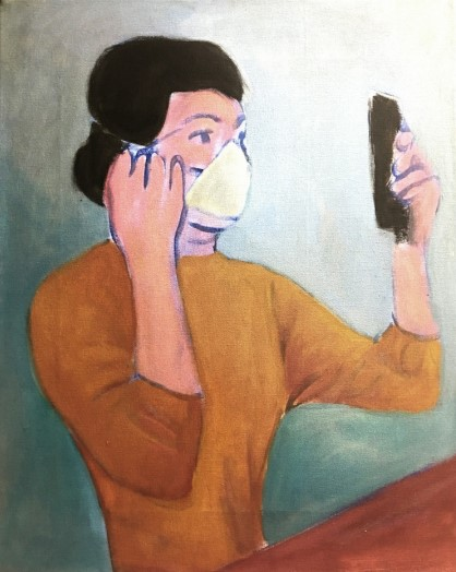 Vassilis H. Make-up, 2020 Oil on canvas 50 x 40 cm