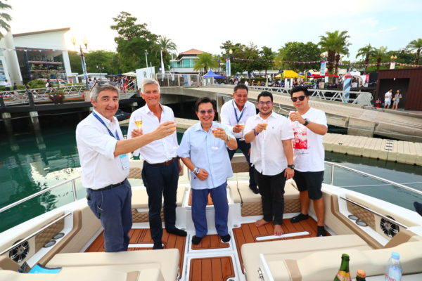 Salleh and his sons at the Aquila 36 handover ceremony with Simpson Marine founder Mike Simpson (second left, also above), Francois Sebire (left) and Simon Theseira (third right)