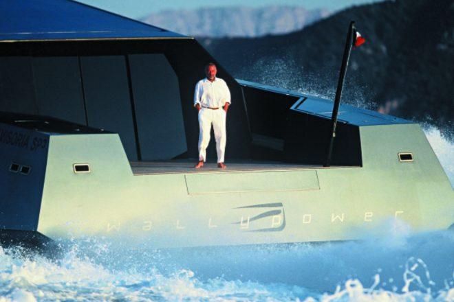 Luca Bassani personifying cool onboard the one-off 118 Wallypower, launched in 2002