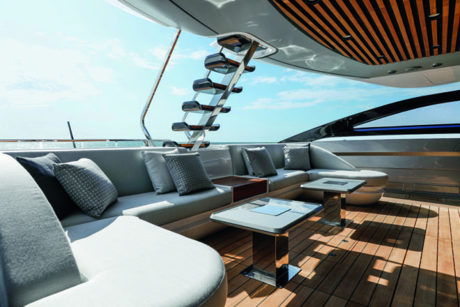 Inspired by J-Class yachts of the 1920s, the Azimut Grande S10 has a private, sheltered cockpit forward of the aft deck