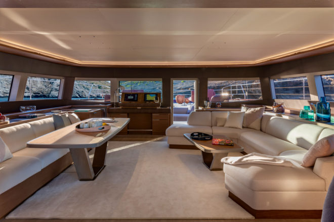 The yacht features an interior by Italy's Nauta Design