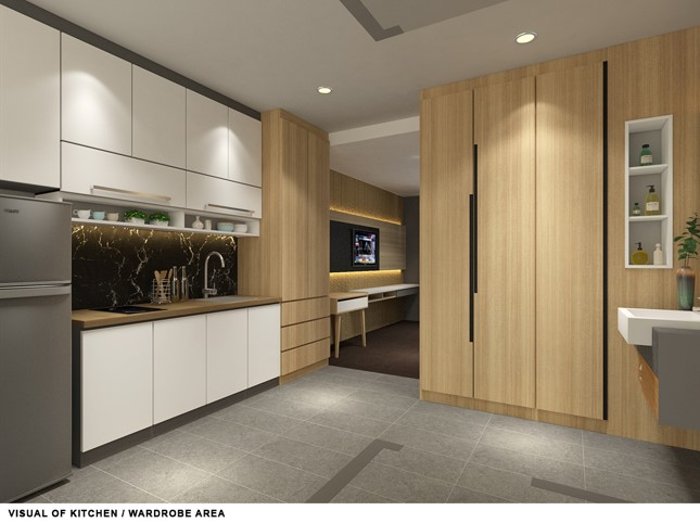 A fully-equipped kitchen of W Residences, Cambodia