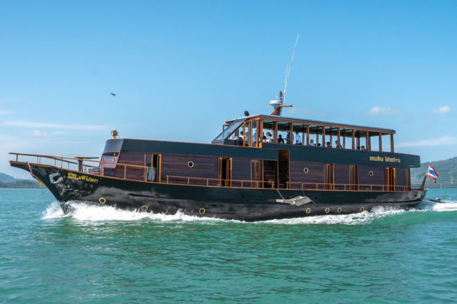 Designed by Amanpuri architect Ed Tuttle and chartered by Yacht Sourcing, the 90ft Maha Bhetra is a traditional wooden motor yacht unlike any other at Yacht Haven, her home port