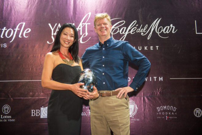 Hwee Tiah with Poullet at the 2019 Christofle Yacht Style Awards in Phuket