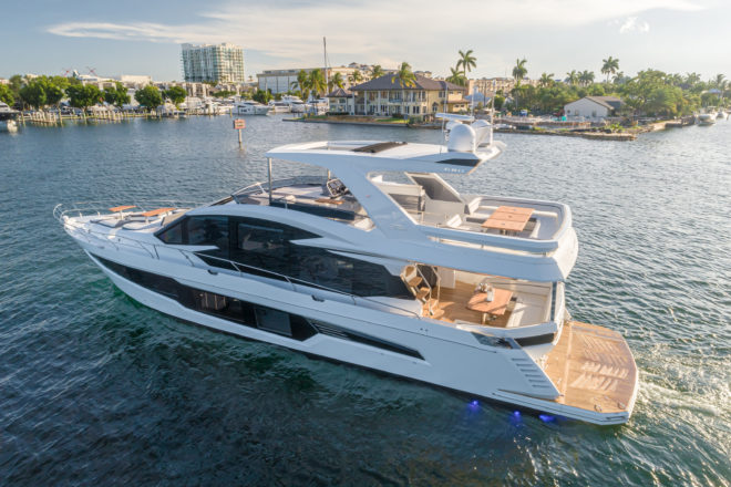One of Galeon's newest models, the 680 Fly debuted at Cannes last September