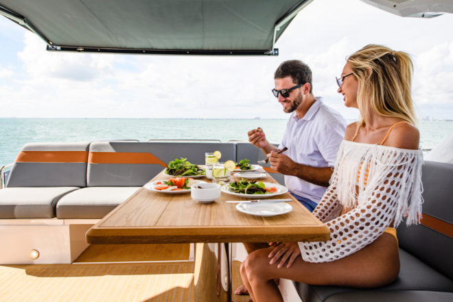 The aft cockpit can be covered and is ideal for al fresco dining with sea views