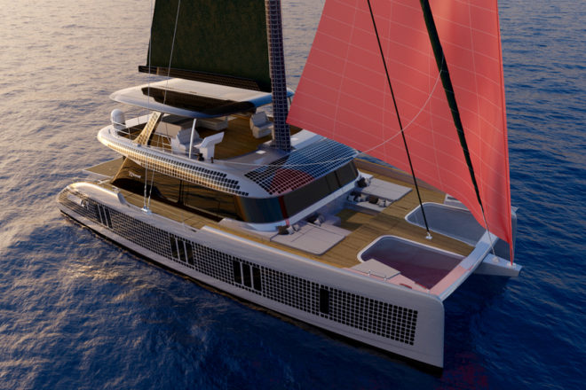 The Sunreef 70 Eco shows solar panels fitted on the hull, flybridge and even mast