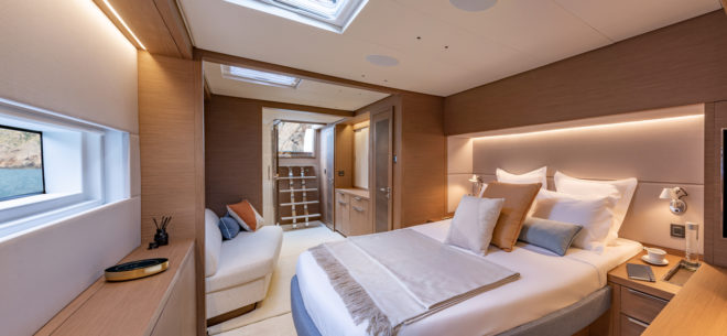 The Sixty 7 has the option of a master suite in the starboard hull