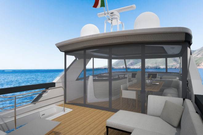 The forward part of the Absolute Navetta 64 flybridge can be enclosed