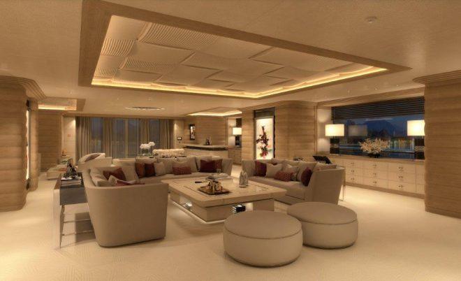 Benetti 107m Lana main-deck saloon